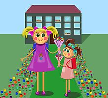 little girls going to school with bouquets of flowers by Ann-Julia