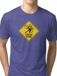 Cyclocross Zone Road Sign Tri-blend T-Shirt
