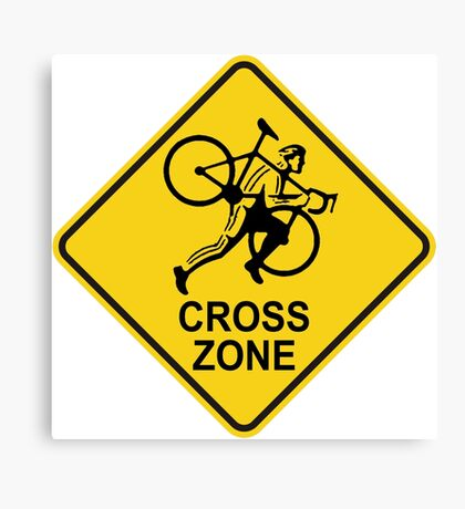 Cyclocross Zone Road Sign Canvas Print
