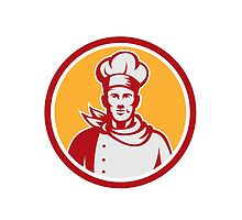 Baker Chef Cook Bust Front Circle Retro by patrimonio