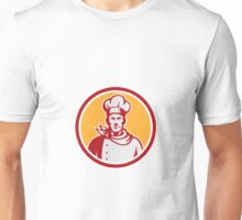 Baker Chef Cook Bust Front Circle Retro Unisex T-Shirt