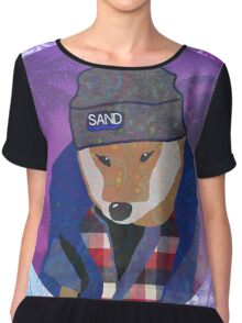 Vaporwave Dog In Flannel Aesthetic Chiffon Top