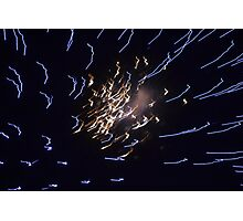 Blue and White Firework Photographic Print