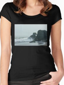 San Francisco Fog - Golden Gate Bridge Emerging from the Milky Mists Women's Fitted Scoop T-Shirt
