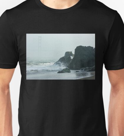San Francisco Fog - Golden Gate Bridge Emerging from the Milky Mists Unisex T-Shirt