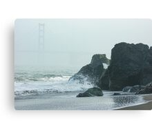 San Francisco Fog - Golden Gate Bridge Emerging from the Milky Mists Canvas Print