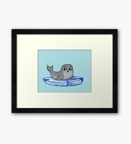 Cute baby seal cartoon Framed Print