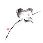 Two birds original art, sparrow watercolor painting by Mariusz Szmerdt