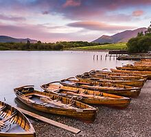 Rowing boats at the lake by Natuuraandemuur