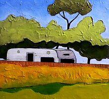"""Australian Backyard with Caravan by Belinda """"BillyLee"""" NYE (Printmaker)"""