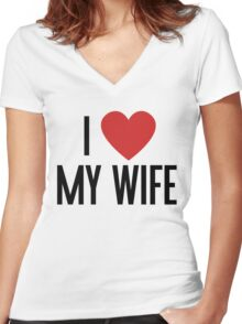 I love my wife Women's Fitted V-Neck T-Shirt