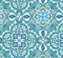 Colored Crayon Floral Pattern in Teal & White by micklyn