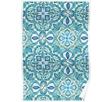 Colored Crayon Floral Pattern in Teal & White Poster