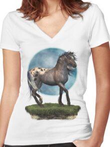 Storm .. an appaloosa stallion Women's Fitted V-Neck T-Shirt