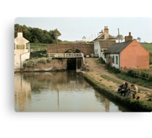Anglers at Foxton, Grand Union Canal, England, UK, 1969. Canvas Print
