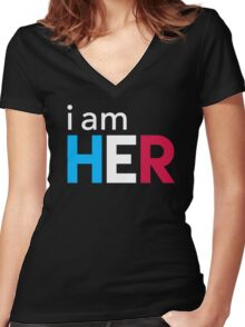 I Am Her Women's Fitted V-Neck T-Shirt