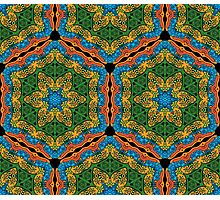 Psychedelic jungle kaleidoscope ornament 26 Photographic Print