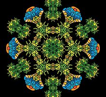 Psychedelic jungle kaleidoscope ornament 27 by Andrei Verner
