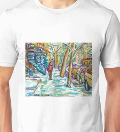 EARLY WINTER SNOW VERDUN MONTREAL STREET SCENE CANADIAN ART Unisex T-Shirt