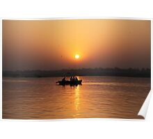 Boating on the River Ganges at dawn. Poster