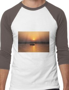 Boating on the River Ganges at dawn. Men's Baseball ¾ T-Shirt