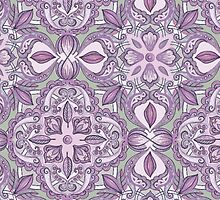 Lavender & Grey - Colored Crayon Floral Pattern by micklyn