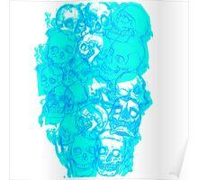 Blue Skull Flame Poster