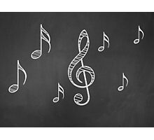 Music notes on blackboard 2 Photographic Print