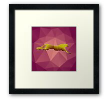beautiful polygonal guepard  on a pink background Framed Print