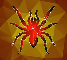 Dangerous spider tarantula made in the polygonal style on an orange background by Ann-Julia