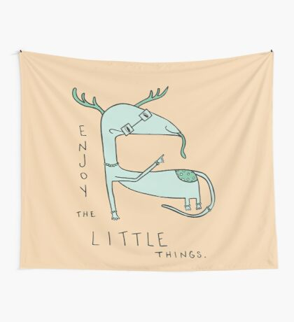Enjoy the Little Things Illustration Wall Tapestry
