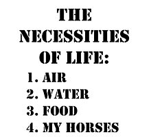 The Necessities Of Life: My Horses - Black Text by cmmei