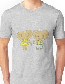 Couple cute elephants fallen in love Unisex T-Shirt