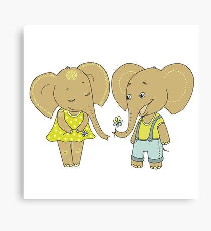 Couple cute elephants fallen in love Canvas Print