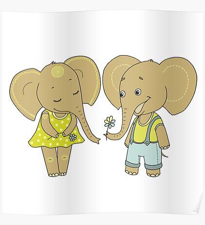 Couple cute elephants fallen in love Poster