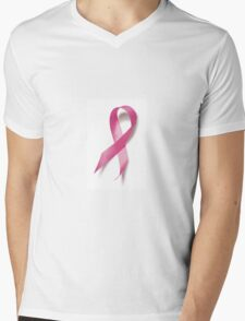 Pink Ribbon Breast Cancer Awareness Mens V-Neck T-Shirt