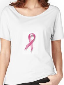 Red Ribbon Breast Cancer Awareness  Women's Relaxed Fit T-Shirt