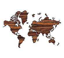 Wooden World Map Photographic Print