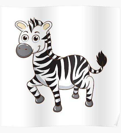 Cute cartoon zebra Poster