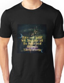 A witch Moon with Gold Shakespeare Quote from King Lear Unisex T-Shirt