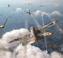 Headlong attack (Hurricanes over Dorset) by Gary Eason + Flight Artworks