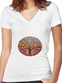 Abstract tree-10 Women's Fitted V-Neck T-Shirt