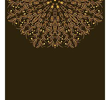 card with an ornament from autumn leaves on a dark brown background Photographic Print