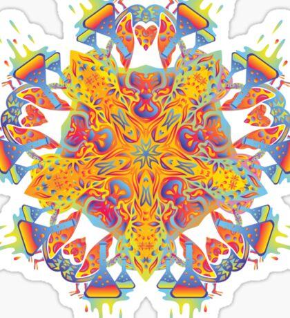 Psychedelic jungle kaleidoscope ornament 21 Sticker
