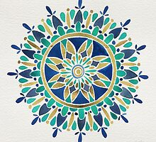 Mandala – Gold & Turquoise by Cat Coquillette