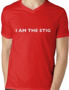 I AM THE STIG - English White Writing Mens V-Neck T-Shirt