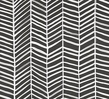 Herringbone – Black & White by Cat Coquillette
