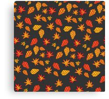 seamless pattern with autumn leaves on a dark background Canvas Print