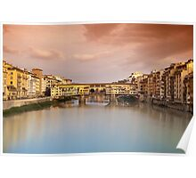 Ponte Vecchio at sunset, Florence, Italy Poster