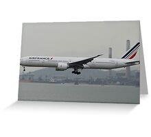 Air France 777-300ER Landing in HKG Greeting Card